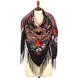 Летнее чудо 1885-18, павлопосадский платок шерстяной  с шелковой бахромой, фото 2