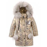 """Зимняя детская куртка """"Ева"""",пальто для девочек, супер качество р.104,110,116,134,140,146 Золотой"""