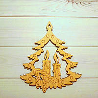 """Заготовка фанерная """"Елочка со свечами"""", 9 х 8,5 см, толщина 3 мм"""