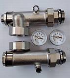 Сгоны для насоса с подключением к коллектору с термометрами, боковое подключение, фото 2