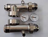 Сгоны для насоса с подключением к коллектору с термометрами, боковое подключение, фото 4
