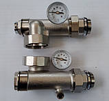 Сгоны для насоса с подключением к коллектору с термометрами, боковое подключение, фото 3