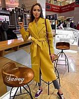 Пальто женское кашемировое на подкладке, бежевое, красное, голубое, розовое, горчица, марсала. 115 см и 95 см