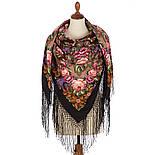 Воспоминания о лете 563-18, павлопосадский платок (шаль) из уплотненной шерсти с шелковой вязанной бахромой, фото 2