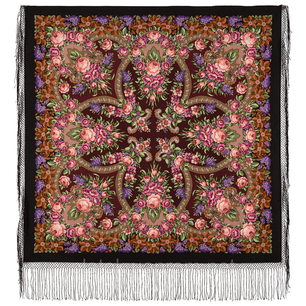 Воспоминания о лете 563-18, павлопосадский платок (шаль) из уплотненной шерсти с шелковой вязанной бахромой