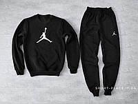 Мужской спортивный костюм Jordan черный (ЗИМА) с начесом, свитшот большая эмблема, штаны реплика
