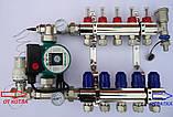 Сгоны для насоса с подключением к коллектору с термометрами, боковое подключение, фото 7