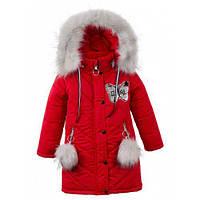 """Зимняя детская куртка """"Ева"""" ,пальто для девочек, супер качество  р.104,110,116,122,128,134,140,146 Красный"""