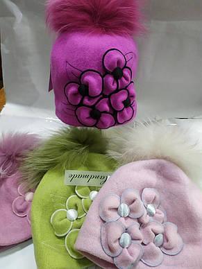 Бесподобная шерстяная шапочка с аппликацией ручной роботы и помпоном, фото 2