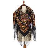 Воспоминания о лете 563-19, павлопосадский платок (шаль) из уплотненной шерсти с шелковой вязанной бахромой, фото 2