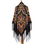 Воспоминания о лете 563-19, павлопосадский платок (шаль) из уплотненной шерсти с шелковой вязанной бахромой, фото 3