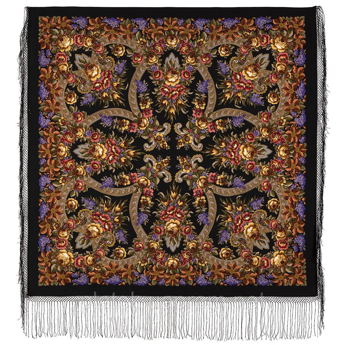 Воспоминания о лете 563-19, павлопосадский платок (шаль) из уплотненной шерсти с шелковой вязанной бахромой