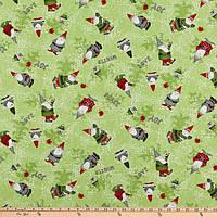 """Американский Хлопок Ткань для Пэчворка и Рукоделия """"Санта Клаус с Птичками"""" 24*55 см"""
