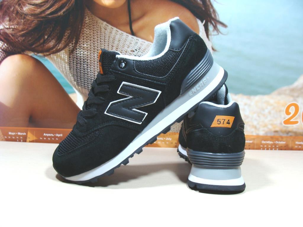 Кроссовки женские New Balance 574 (реплика) черные 37 р.