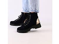 Зимние женские ботинки темно-синего цвета