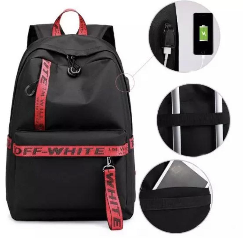 Рюкзак молодежный с красными лентами с USB Midnite Start (AV213)