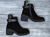 Стильные женские Ботинки кожаные на каблуке 6 см, размеры 36-40
