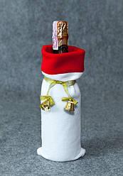 Новогодний мешок для бутылку Колокольчики белый с золотом