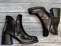 Классические женские Ботинки кожаные на каблуке 6 см, размеры 36-40