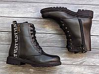 Высокие в стиле милитари женские Ботинки кожаные на шнуровке, размеры 36-40