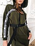 Женское утепленное платье-туника с капюшоном и поясом (в расцветках), фото 3