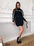 Женское утепленное платье-туника с капюшоном и поясом (в расцветках), фото 10