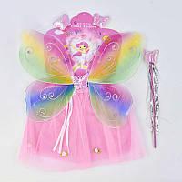 Карнавальный набор для девочки Фея, 4 предмета юбка, крылья, жезл, ободок - 182988
