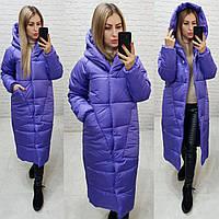 Женское длинное пальто -кокон, цвет фиолетовый, арт М500, фото 1