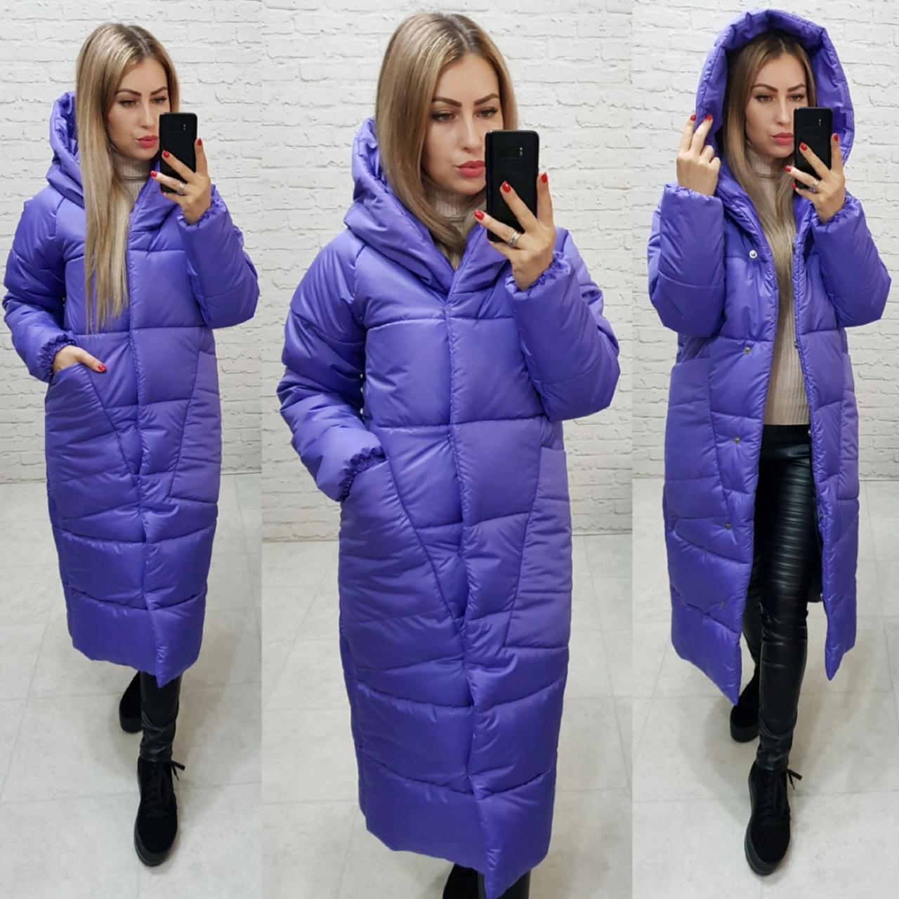 Женское длинное пальто -кокон, цвет фиолетовый, арт М500