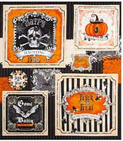 """Ткань-панель для пэчворка и рукоделия американский хлопок  """"Хеллоуин"""",  55*58 см"""