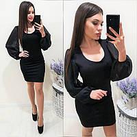 Платье женское повседневное, короткое, ровное,стильное, модное, вечернее, с пышными рукавами, облягающее, фото 1