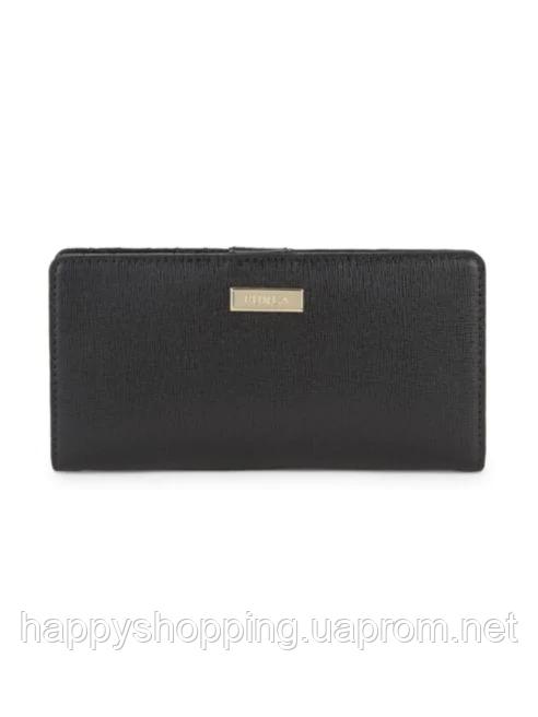 Женский оригинальный черный кошелек из сафьяновой кожи FURLA