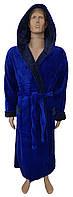 Мужской махровый халат - синий