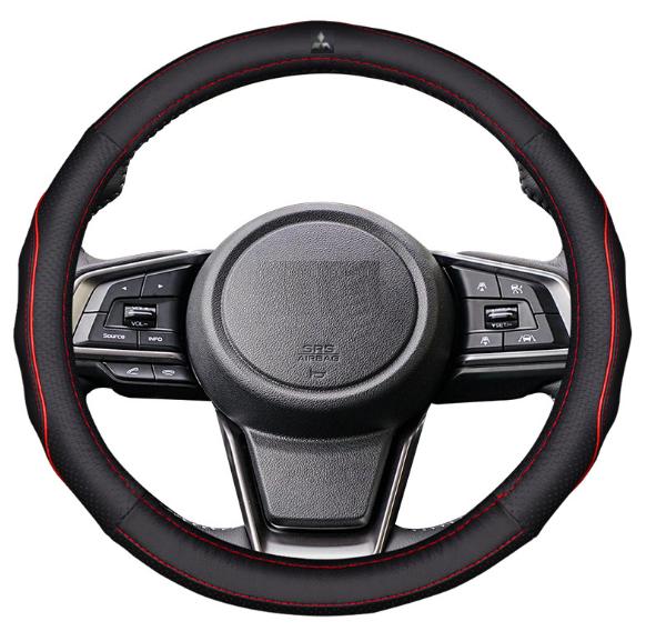 Чехол оплетка на руль кожаная для автомобиля с логотипом Mitsubishi натуральная кожа
