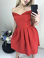 Нарядное платье с открытыми плечами /красное, 42-46, ft-419/