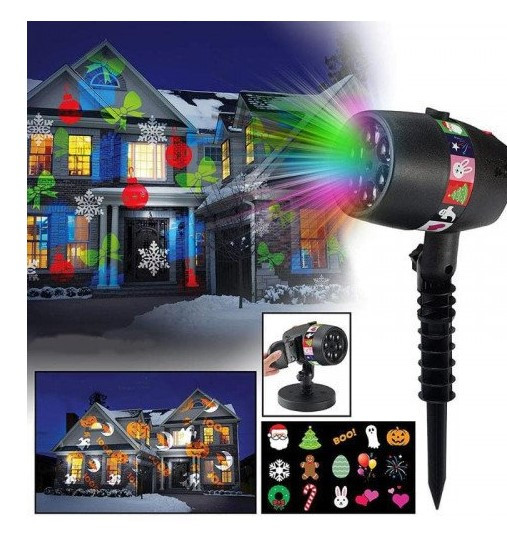Проектор Star Shower projection outdoor light halloweeen 12 слайдов + пульт