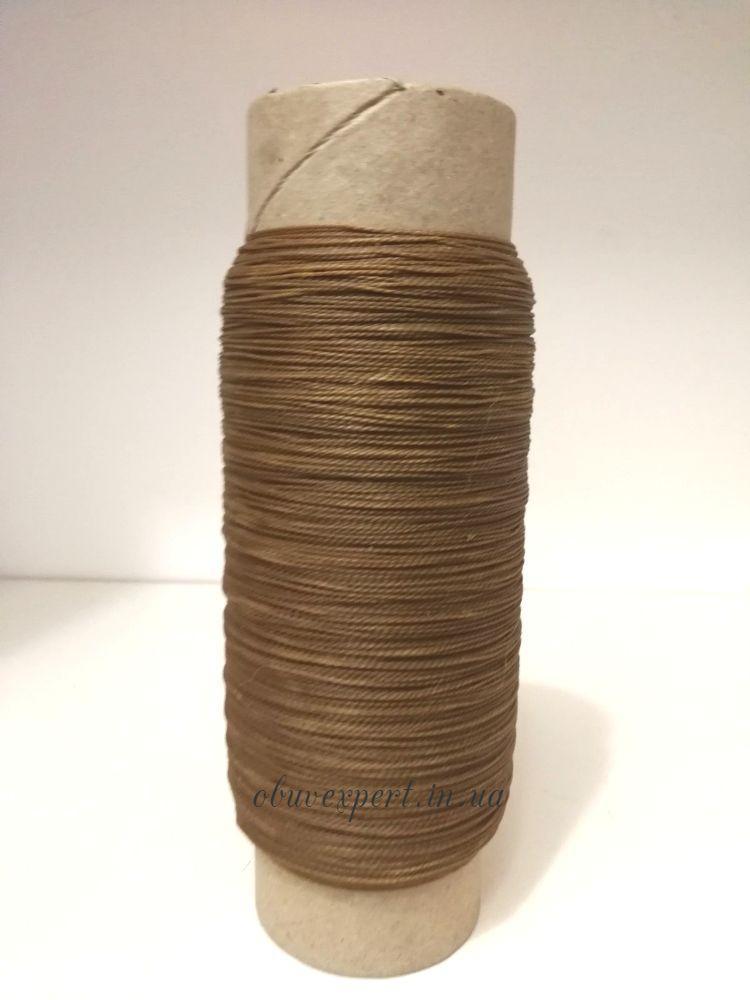 Нить обувная вощеная полиэстер Текс 280 (толщ. 0,6 мм), 500 м, цв. темно-бежевый