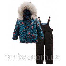 Зимний теплый комплект тройка для мальчиков, мех и капюшон съемные, р. 92,98,104,110 принт гонки