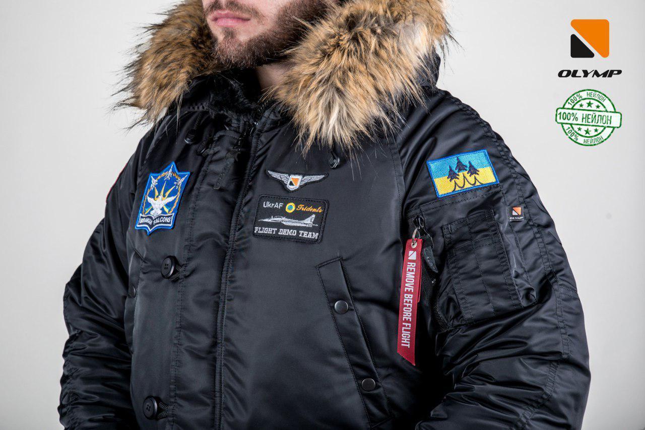Мужская зимняя парка куртка аляска Olymp c нашивками