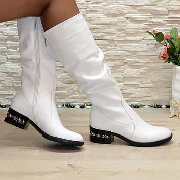 Сапоги женские  белые кожаные на низком каблуке