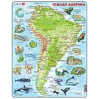 Пазл рамка-вкладыш Карта Южной Америки с животными, серия МАКСИ, Larsen, фото 1