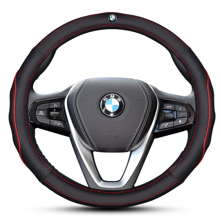 Чехол оплетка на руль кожаная для автомобиля с логотипом BMW натуральная кожа