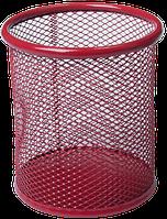 Підставка для ручок кругла 80х80х97мм, металева червона