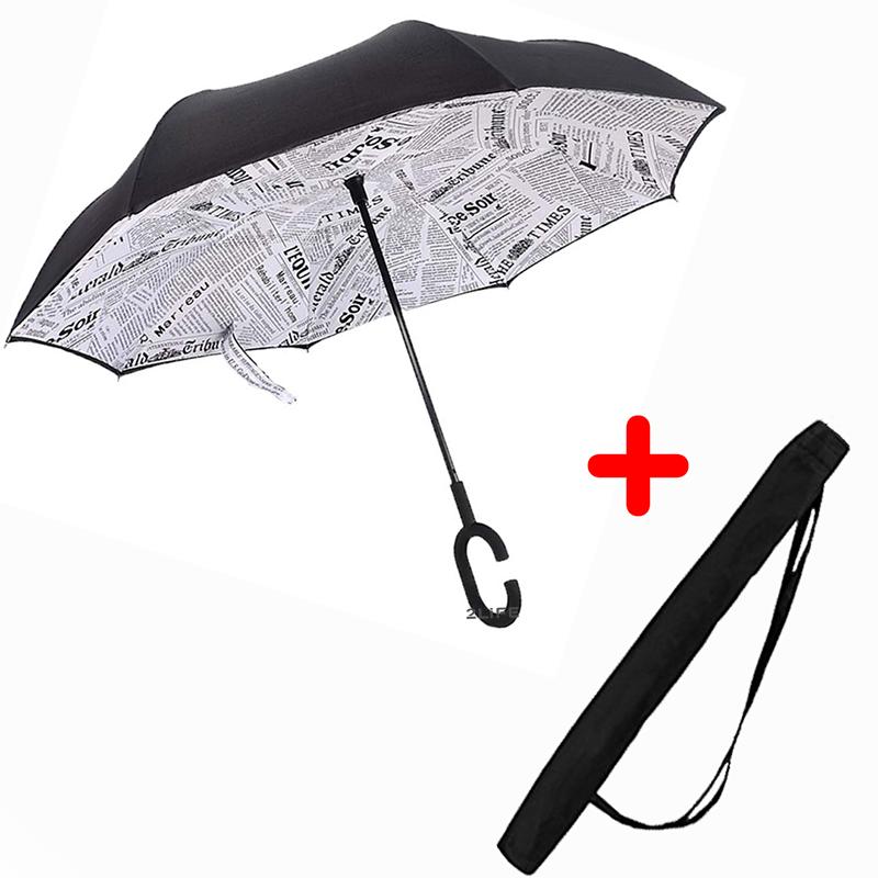 Зонт обратного сложения Up-brella Journal White + чехол (n-74)