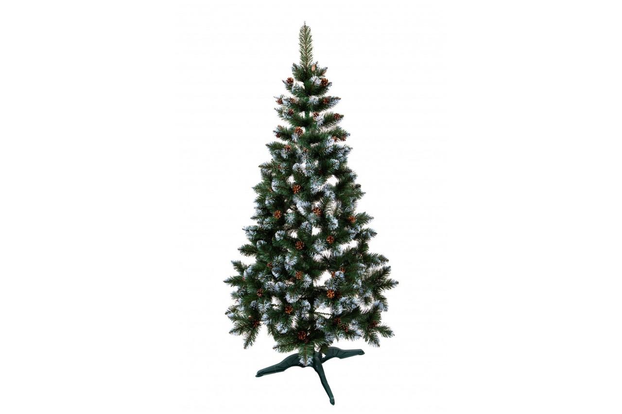Ель искусственная новогодняя Лидия Зеленая с белыми кончиками и шишками 220см  ЯШЛ-БК-2,20