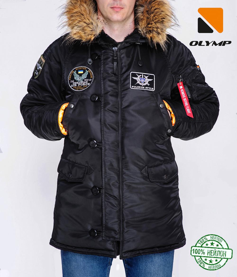 Зимова чоловіча куртка Olymp з нашивками - N-3B, Slim Fit, Color: Black 100% Нейлон