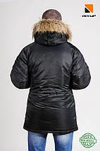 Зимова чоловіча куртка Olymp з нашивками - N-3B, Slim Fit, Color: Black 100% Нейлон, фото 3