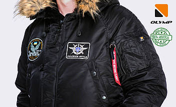 Зимова чоловіча куртка Olymp з нашивками - N-3B, Slim Fit, Color: Black 100% Нейлон, фото 2