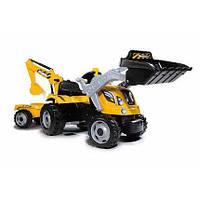 SMOBY Трактор на педалях MAX 710301 с прицепом и 2 ковша(2+)