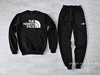 Мужской спортивный костюм The North Face черный (ЗИМА) с начесом, свитшот большая эмблема реплика